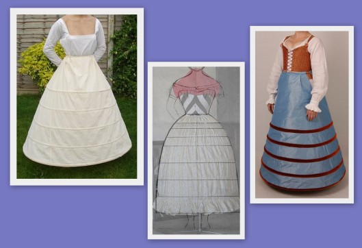 Farthingale or hoop skirt patterns. Right: Etsy. Left Centre:
