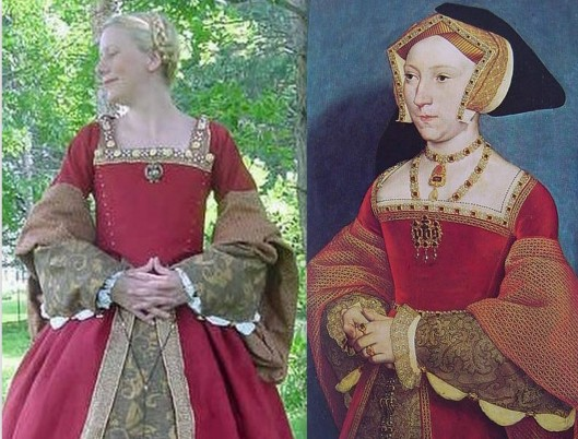 From verymerryseamstress.com. Portrait of Jane Seymour on right with reproduction of her dress on left.