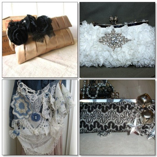 Match your handbag to your ensemble or theme. Above left: a peach satin and black clutch perfect for a goth/steampunk wedding. Above right: A lovely clutch for a winter wedding. Below left: If you are a shabby chic bride with a spring/summer wedding this bag might be just right for you. Below right: If you'll be celebrating your wedding at New Year's this glitzy bag is perfect.