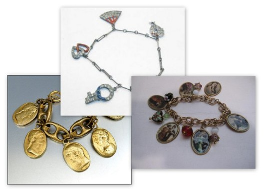 Art deco, diamond and cameo charm bracelets from the 1920'2 and 30's. Many available for sale on Ebay.