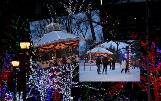 Gage Park Brampton includes lighted trees, a decorated gazebo and arched skating trail.