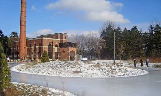 Skating trail at Colonel Sam Smith Park with steam house in background. Photo source ~ ccfew.org