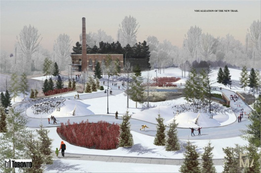I love this artists rendition of the skating trail at Colonel Sam Smith Park. Photo source ~ Toronto Councillor Mark Grimes (markgrimes.ca)