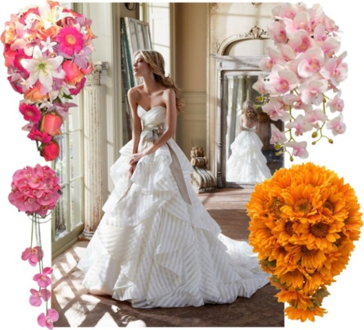 A shower bouquet should be used with a full skirted dress or a dress with a train.