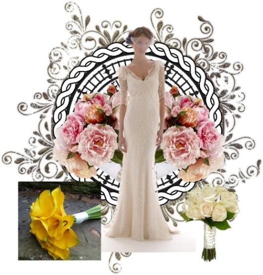 An underarm bouquet is best for outfits with a lot of detailing, long or silky styles.