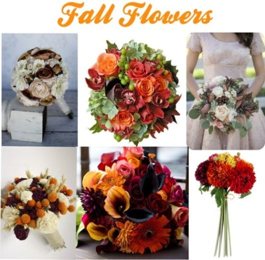 Dramatic bouquets for a fall wedding.