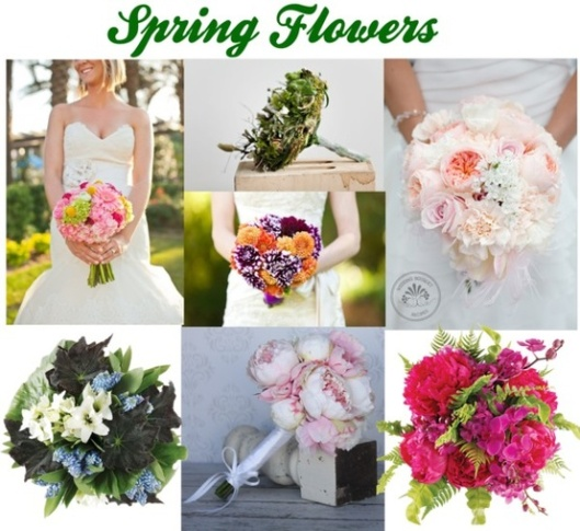 Beautiful bouquets with spring flowers.