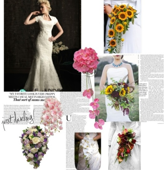 The trailing bouquet will be perfect if you wear an A-line, princess or ballerina skirt or a long and a flowing train.