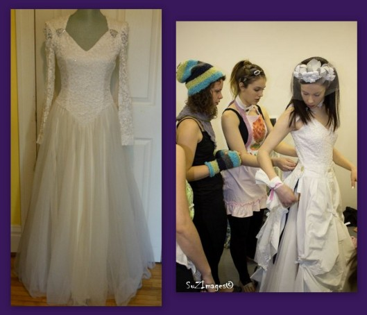 Left: the before picture of the wedding dress. Right: The bodice of the wedding dress is made of lace. Valerie updated the sleeves for a more contemporary look. Photo ~ Suzanne Steenkist