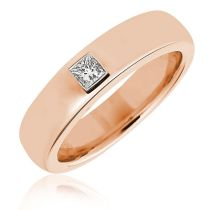 Pink gold with square cut diamond www.mazaldiamond.com