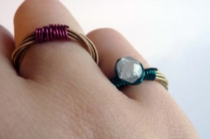 Rings can be made from guitar or violin strings and a stone or gem attached. Photo source ~ artfire.com