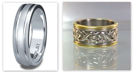 Men's platimun rings. Photo source ~ left groomsguidefor wedding.com and right, custommade.com