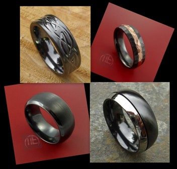 Zirconium wedding bands. Photo source ~ top left and bottom right: love2have.co.uk. Top right and bottom left: Stonebrook Jewelry