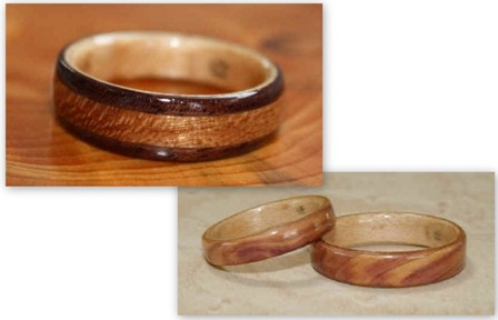 Wooden wedding bands from Touch Wood Rings.